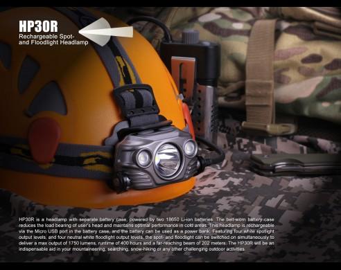 Frontal Fénix HP30R 1750 lúmenes  (recargable, incluye 2 baterías 3.6V 2600 mAh)