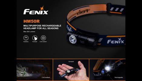 Frontal Fénix HMR50 con 500 Lúmenes Recargable
